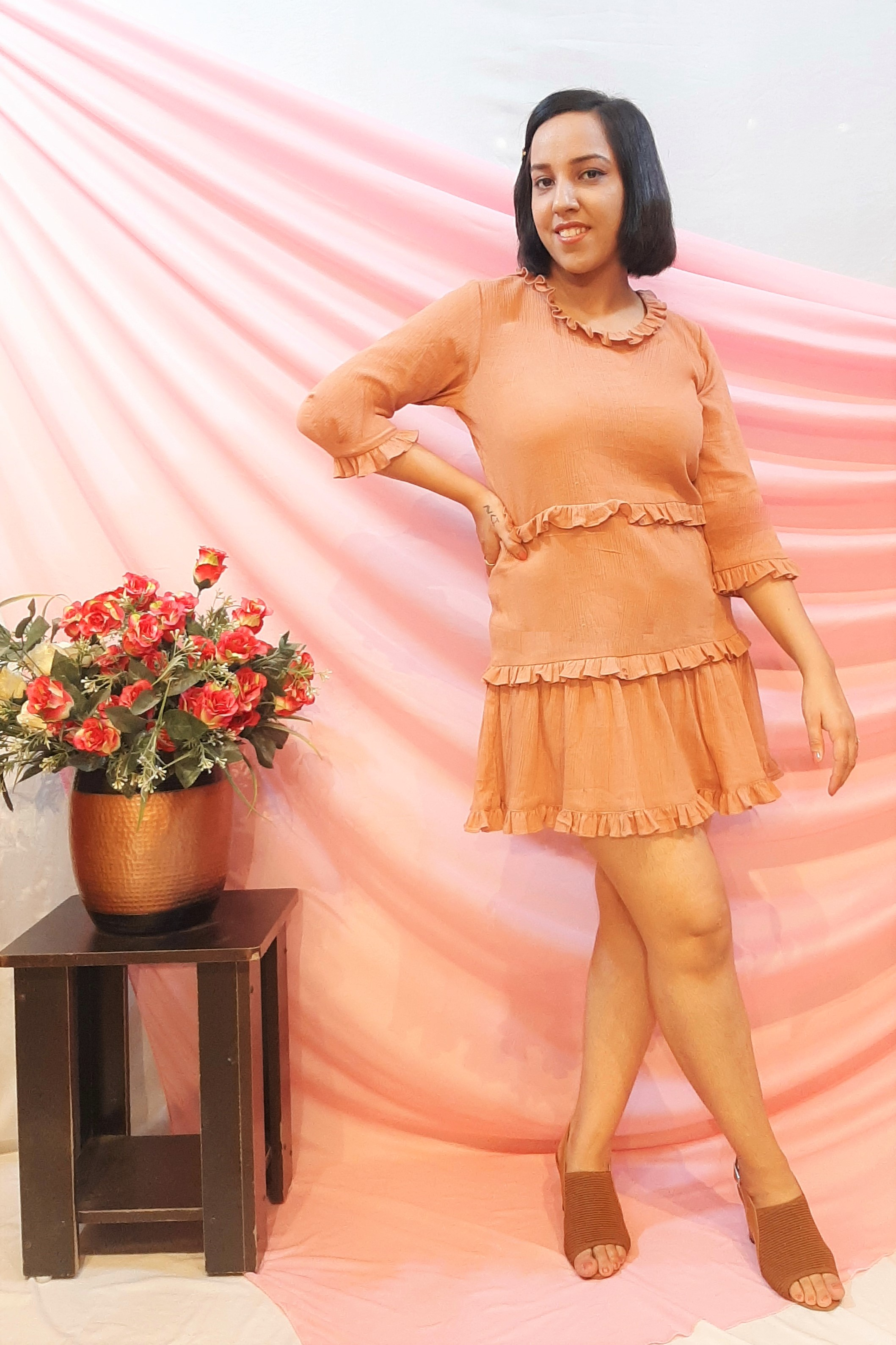Folle Plain Brown Cotton Tunic Top With Tiers
