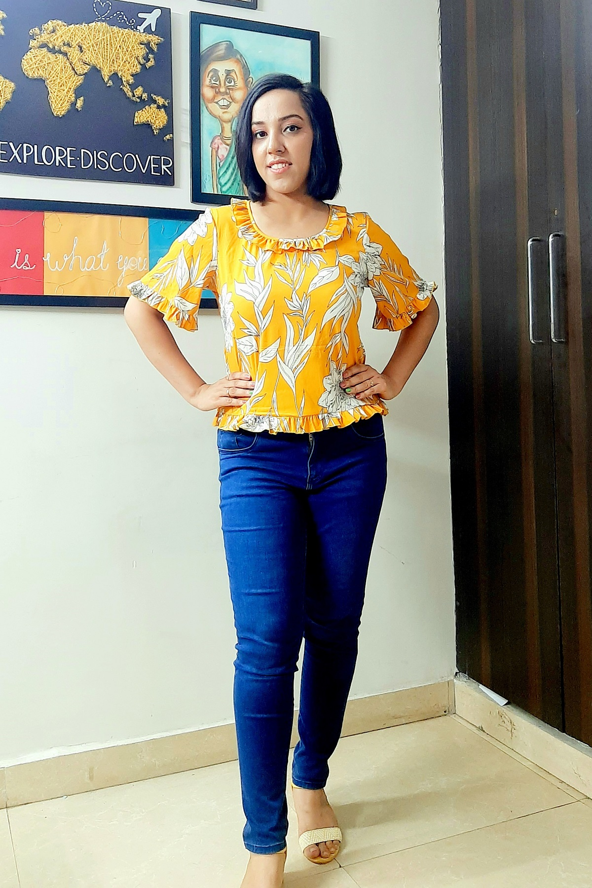 Folle Yellow Floral Crepe Casual Top