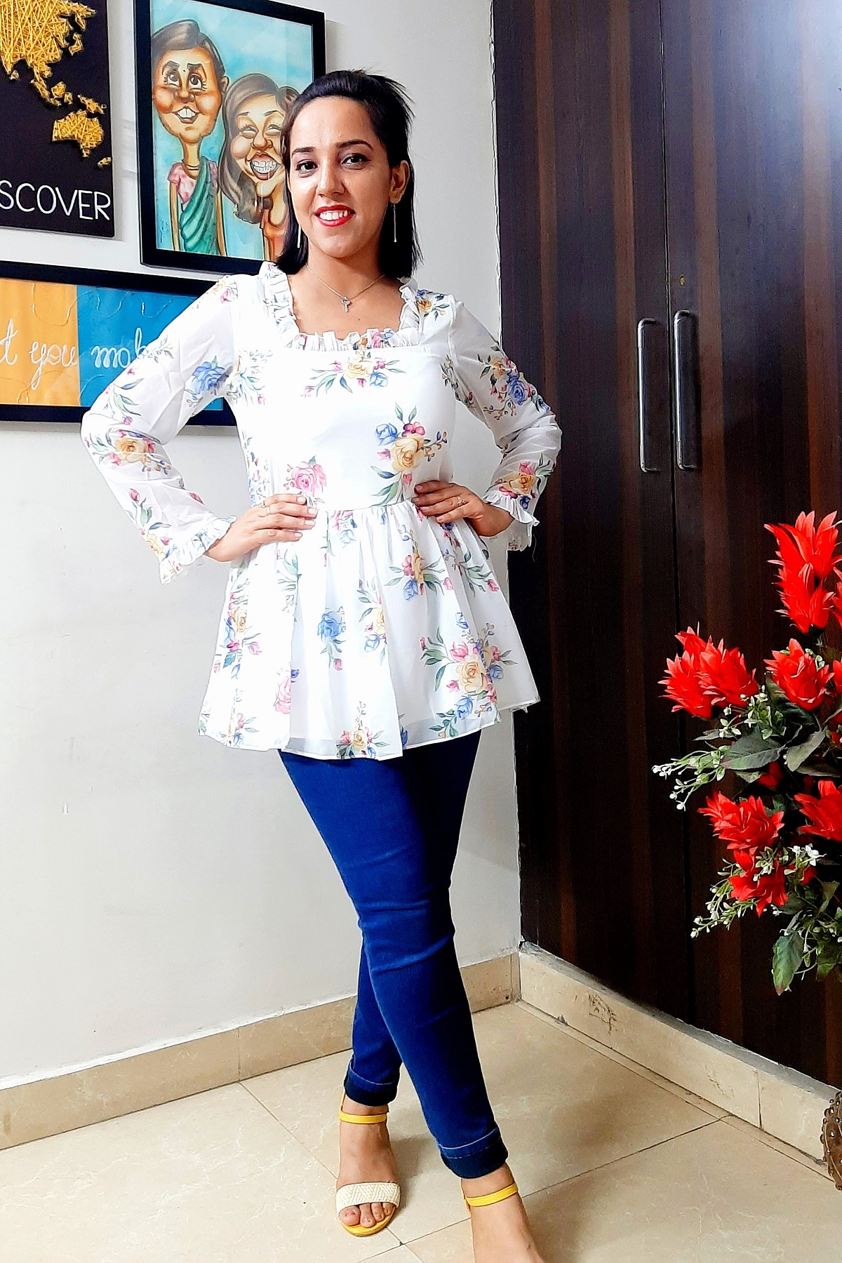 Folle White Georgette Floral Print Tunic
