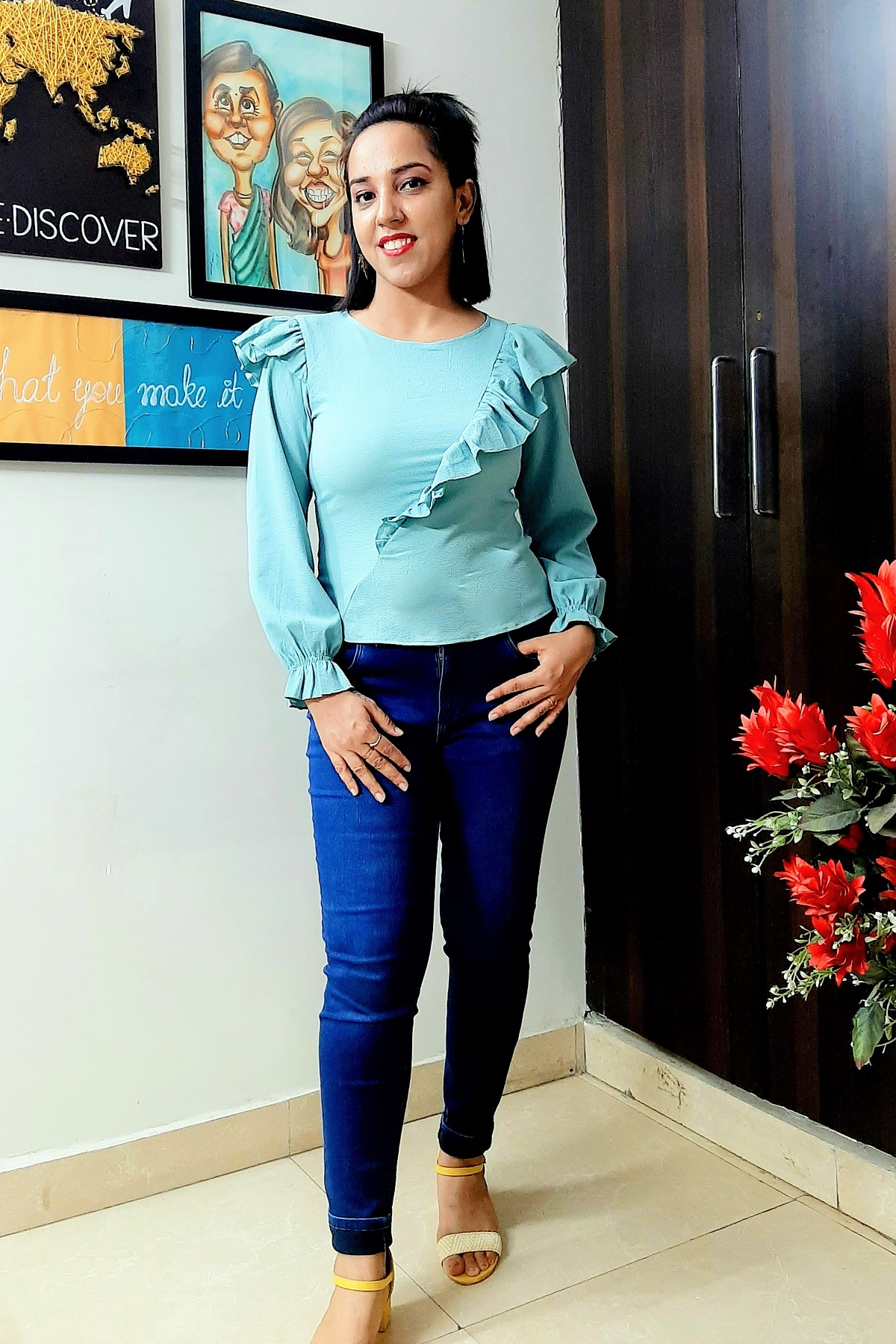 Folle Solid Ice Blue Frill Smart Top