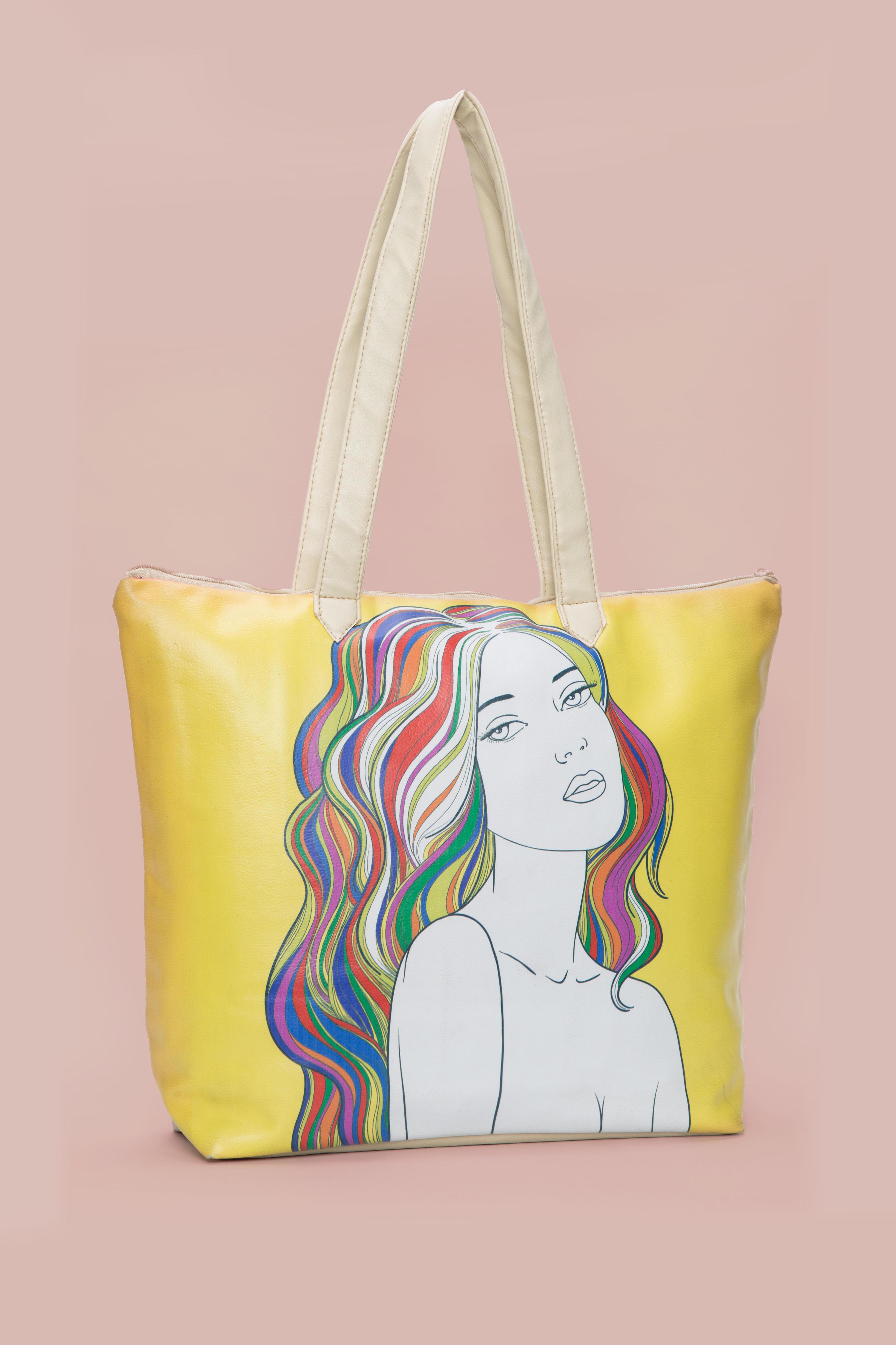 Folle Girl With Colourfull Mind Digital Print Tote Bag