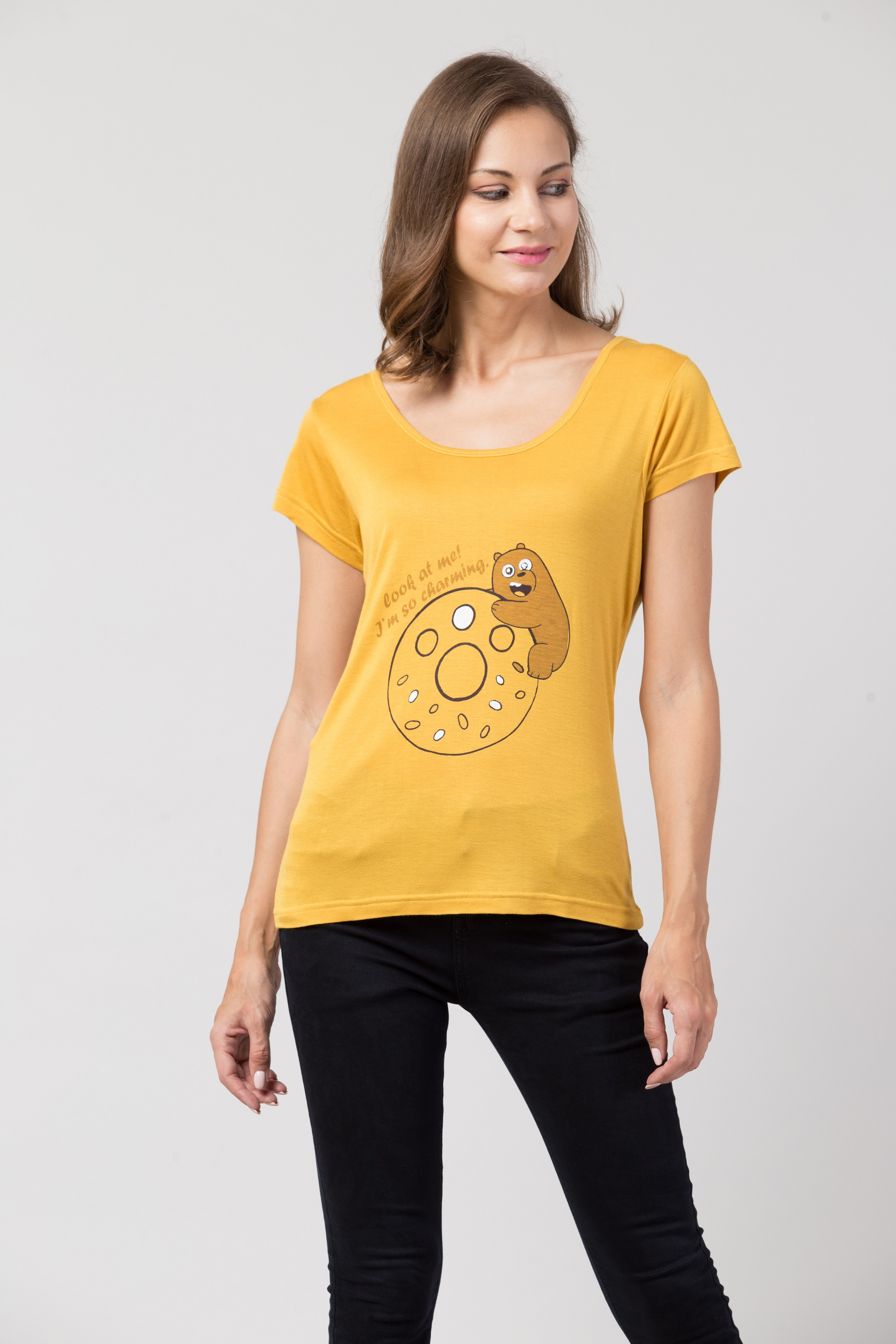 Follle Yellow Tshirt With Panda And Donut