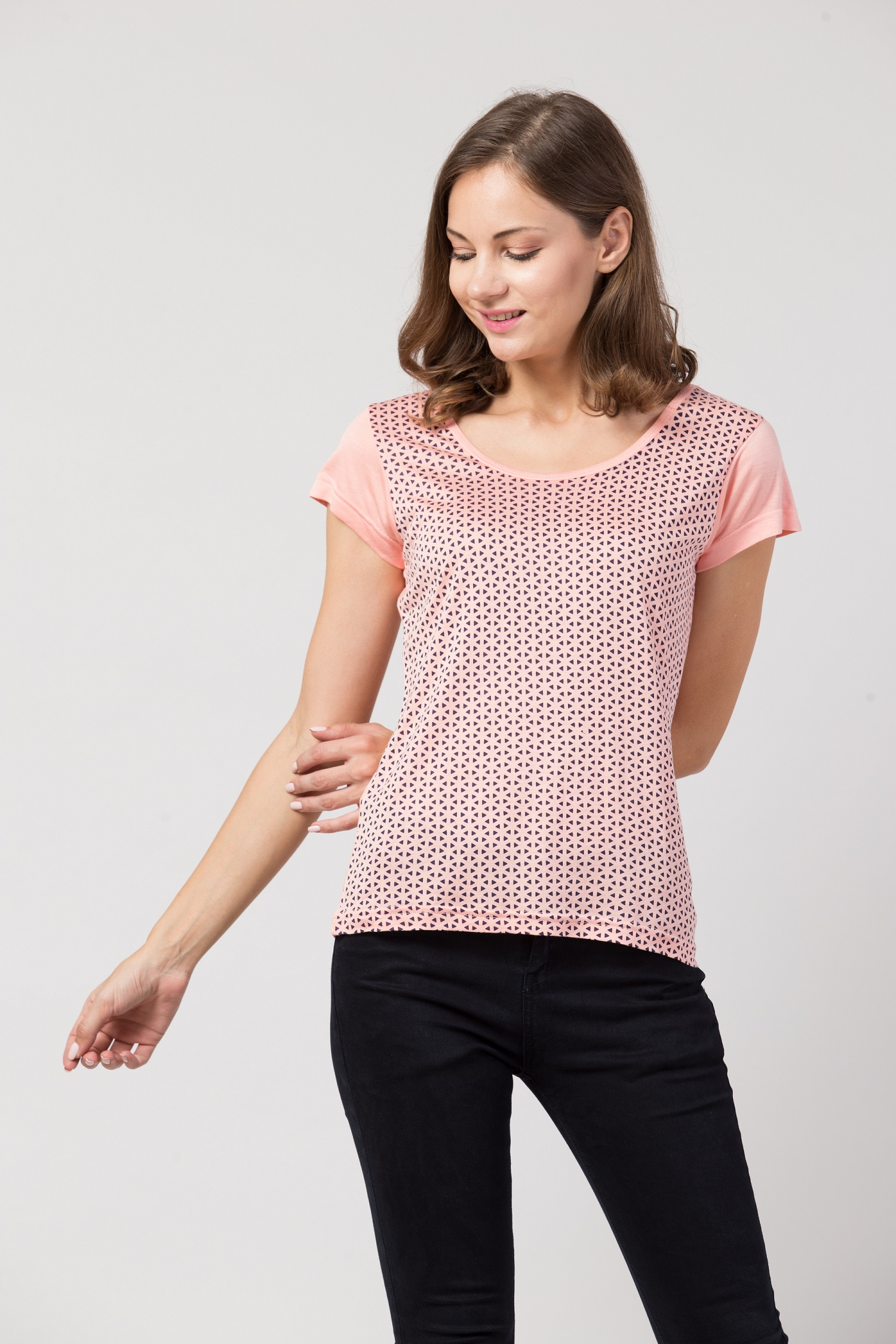 Folle Baby Pink Tshirt With Geo Print