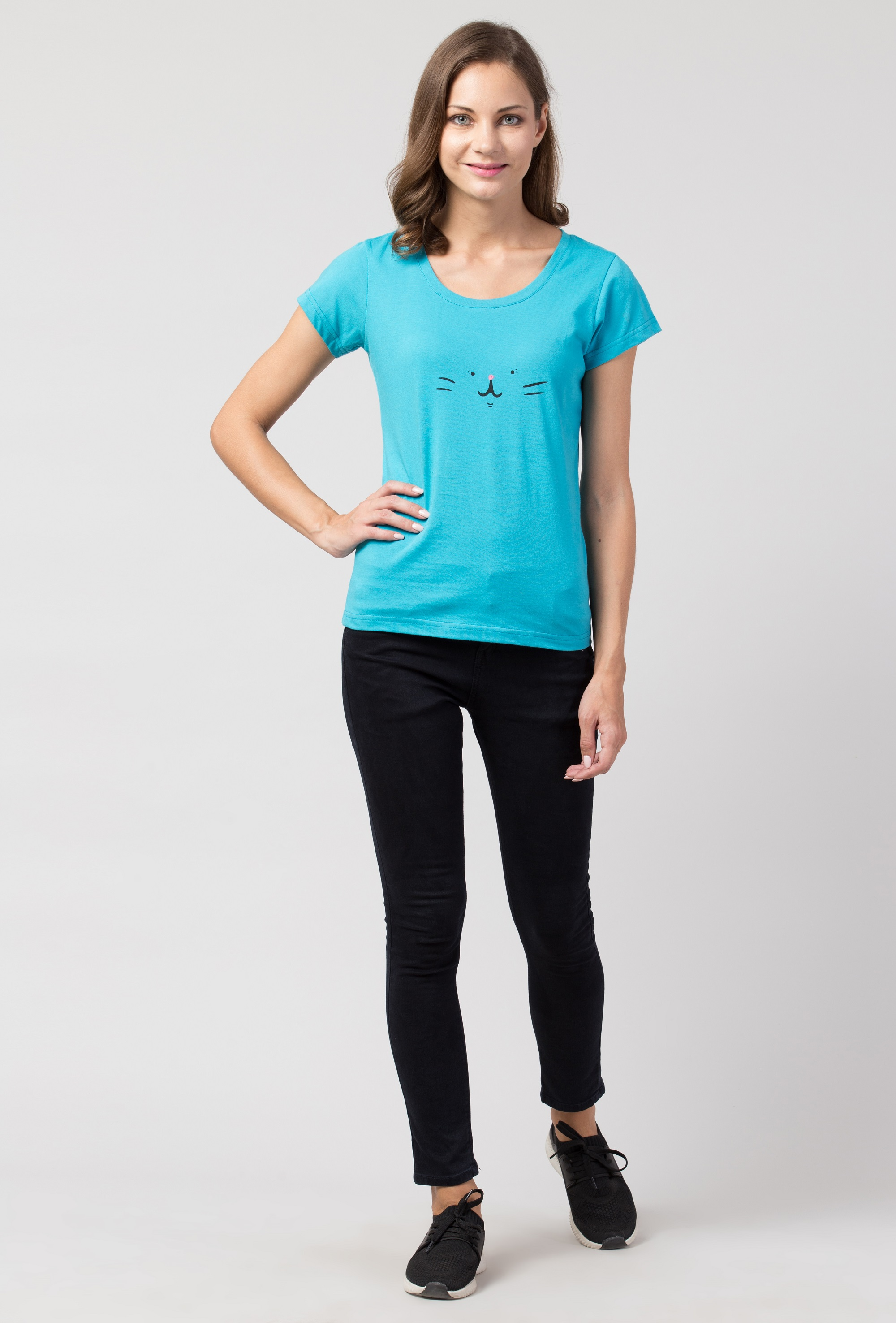 Folle Blue Tshirt With Cat Face