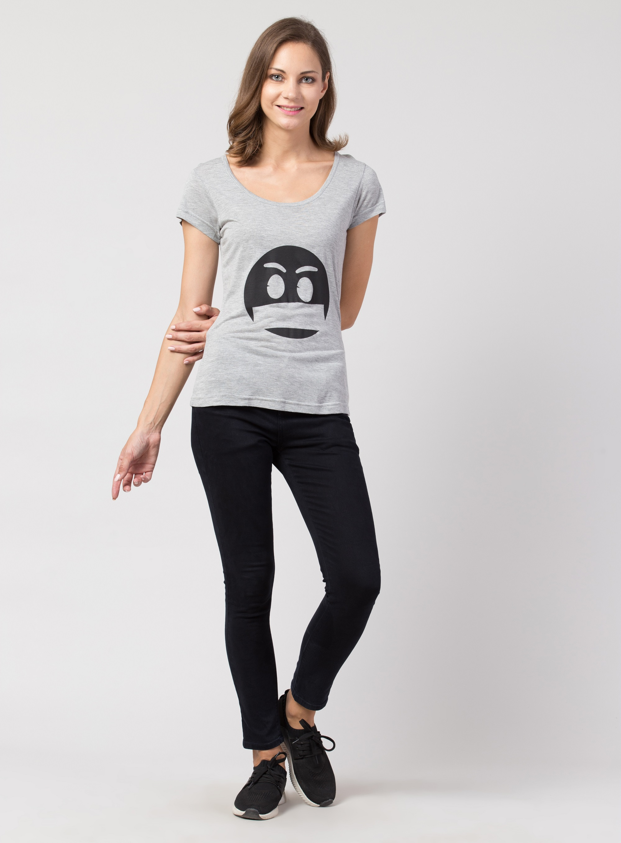 Folle Grey Tshirt With Angry Face