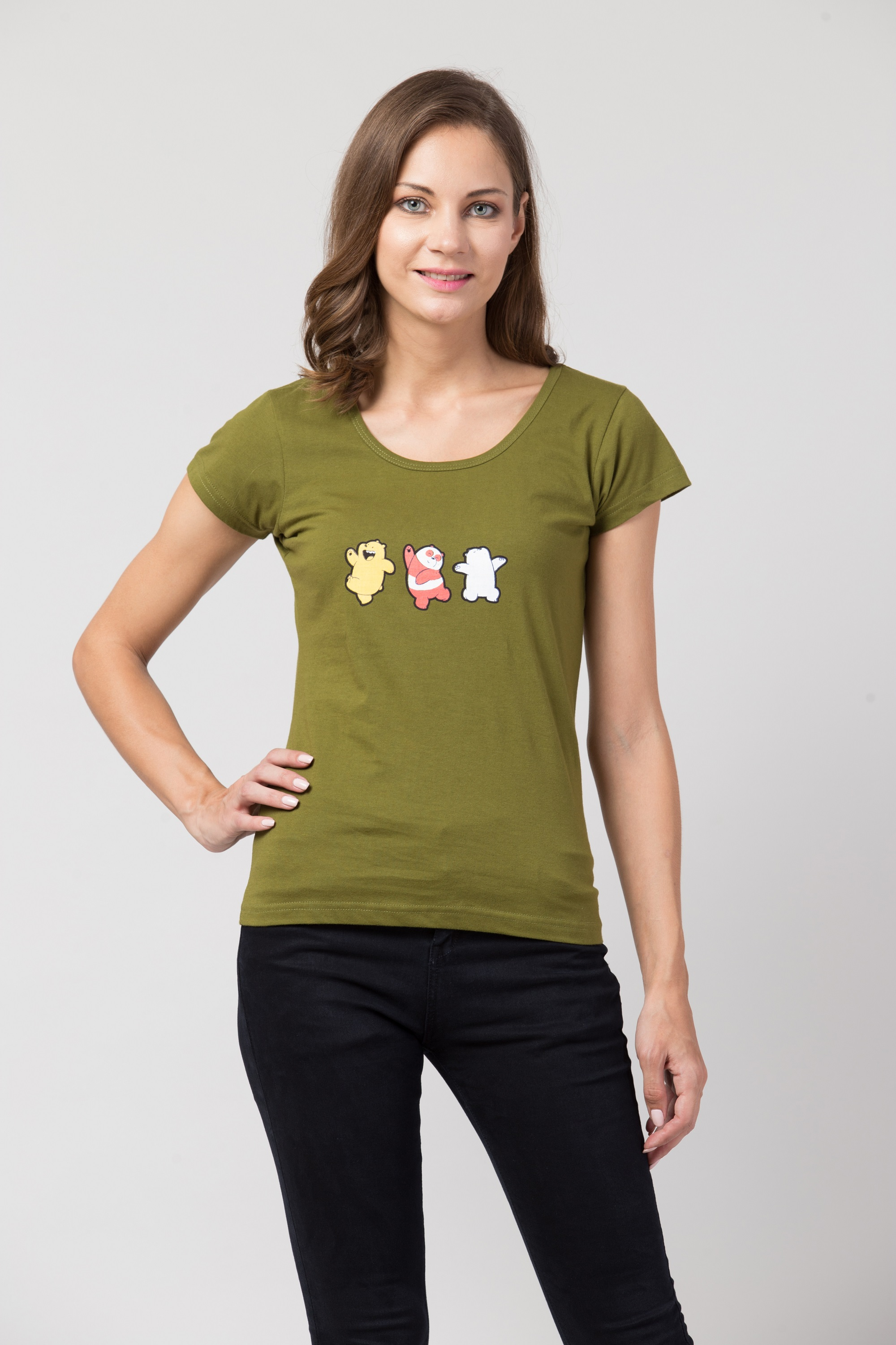 Folle Olive Green Tshirt With Playing Panda